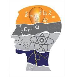 Physics student head slilhouette vector