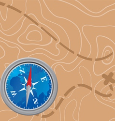 Map and compass vector
