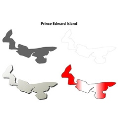 Prince edward island blank outline map set vector