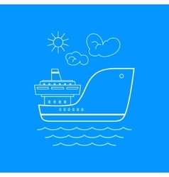 Cargo ship line style design vector