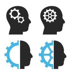 Intellect gears flat icons vector