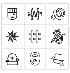 Set of prison icons prisoner isolation vector