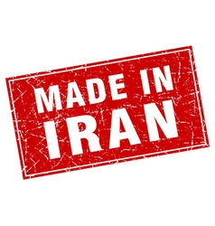 Iran red square grunge made in stamp vector