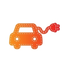Eco electric car sign orange applique isolated vector