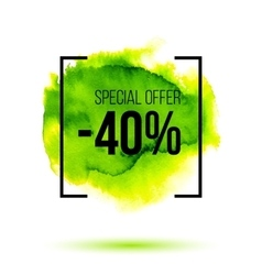 Abstract green watercolor splash with discount 40 vector