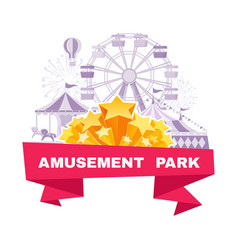 amusement park banner with different carousels vector image