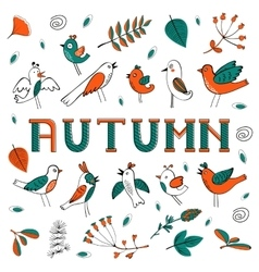 Autumn card with birds leaves and flowers vector