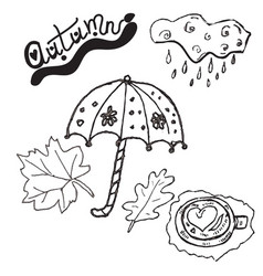 autumn clipart set hand drawn pictures vector image