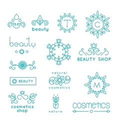 Beauty shop cosmetic industry linear icons vector
