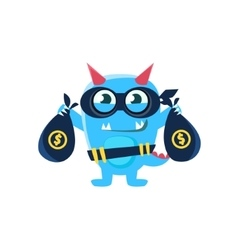 Blue monster with horns and spiky tail robbing the vector