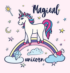 cute unicorn greeting card magical unicorn vector image