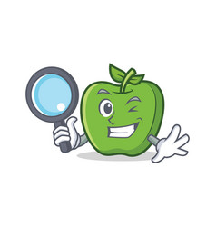 Detective green apple character cartoon vector