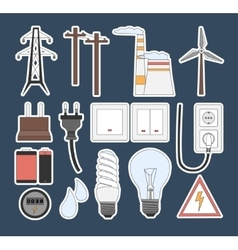 Energy electricity power icons vector