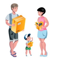 family packing their stuff and prepare for vector image vector image