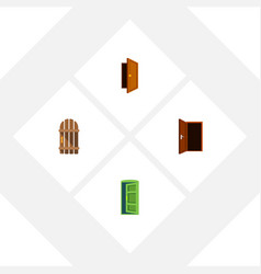 flat icon door set of frame wooden fence entry vector image vector image