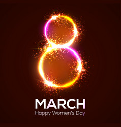 Happy womens day 8 march in neon circle with glow vector