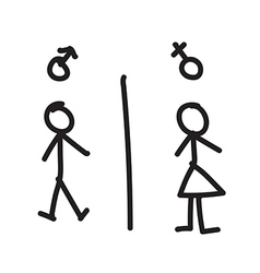 Line hand drawing of man and woman vector