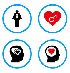 Male love rounded icons vector