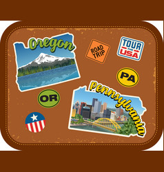 Oregon pennsylvania travel stickers vector