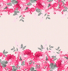 Seamless floral border with pink roses vector image vector image