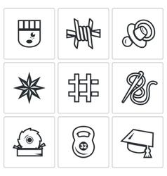 Set of prison icons prisoner isolation vector