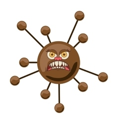 Silhouette brown with bacteria cartoon shape vector