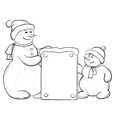 snowmen with sign contours vector image vector image
