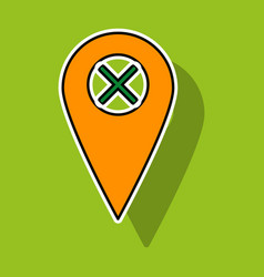 Sticker navigation geolocation icon in flat vector
