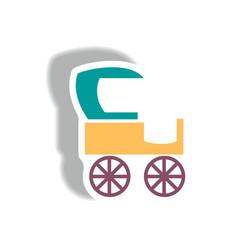 Stylish icon in paper sticker style retro carriage vector