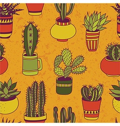 Succulents garden - seamless pattern vector