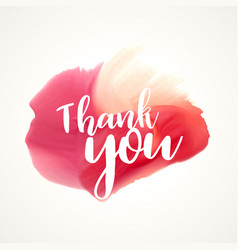 thank you lettering on red paint or watercolor vector image