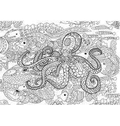 underwater sea octopus in zentangle style vector image