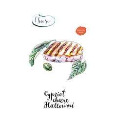 Watercolor grilled of cypriot halloumi cheese vector