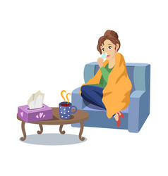 Woman suffering from cold flu concept vector