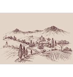 Vineyard sketch Wine label design Rural landscape vector image