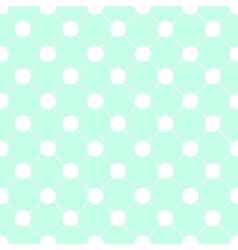 White Polka dot Chess Board Grid Green Mint vector image