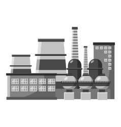 Large production plant icon gray monochrome style vector