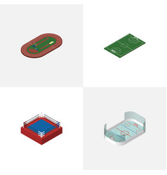 isometric lifestyle set of run stadium fighting vector image