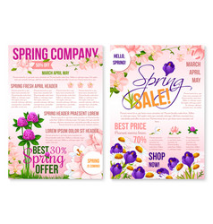 Spring season sale floral poster template design vector