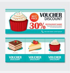 Discount voucher set of dessert template design vector