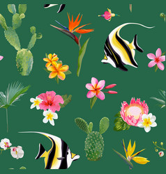 Tropical seamless floral summer pattern vector