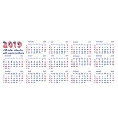 2019 american calendar weeks vector