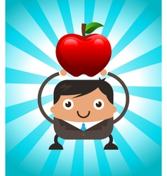 Business man holding red apple vector