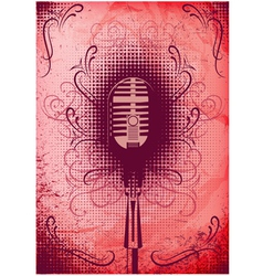 Retro poster with a microphone and decorative elem vector