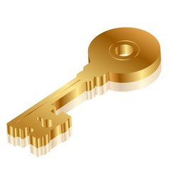 3d golden key vector image