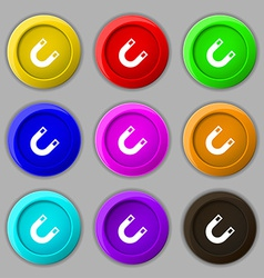 Magnet horseshoe icon sign symbol on nine round vector