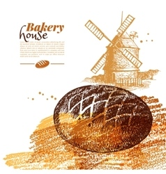 Bakery sketch background vintage hand drawn vector