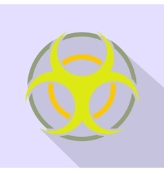 Biohazard sign round flat icon vector