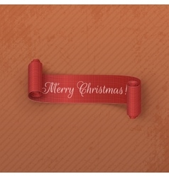 Realistic scroll red christmas label on cardboard vector
