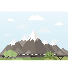 Train in the mountains vector